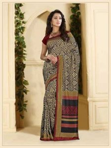 Casual Red Black and White Printed Saree