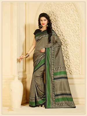 Casual Black, White and Green Printed Saree