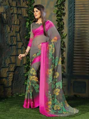 Casual Black and pink floral printed saree