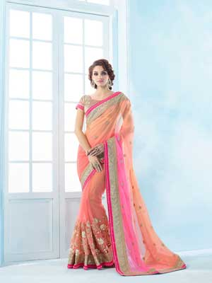 Peach to Pink Fully embroidery Saree