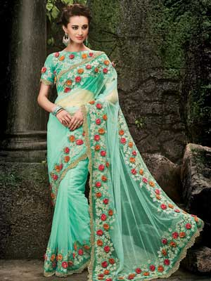 Blue, Green Shade Saree with 3D Red Floral Patter on Border