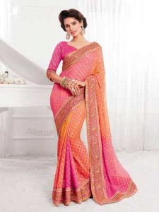 Stylish Pink to Orange Shaded Party Saree