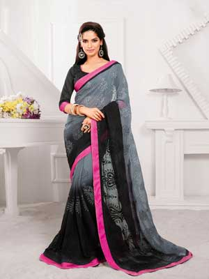 Grey and Black with Pink border Casual Printed Saree