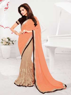 Simple peach saree with black boarder