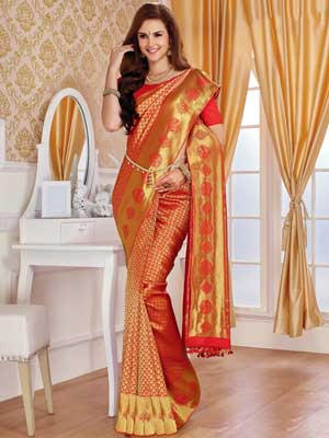 Red Pure Silk Saree with Gold Work