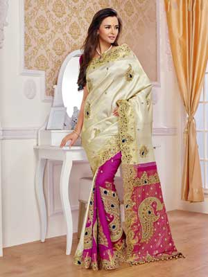 Off White, contrasting pink Silk Fully Embroidery Saree