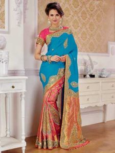 Blue, Pink, Orange Heavy Work Wedding Silk Saree
