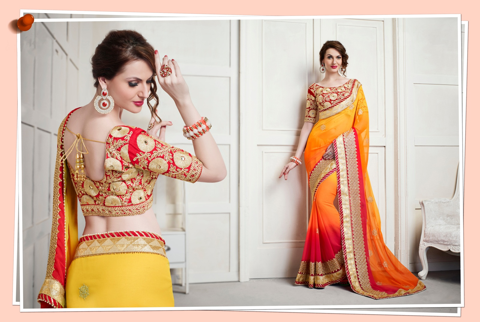 Yellow, orange and red chiffon saree