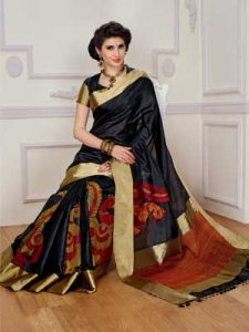 Black and Orange Designer Saree with Gold Border